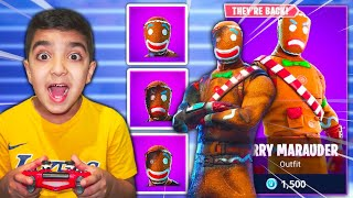SURPRISING MY LITTLE BROTHER WITH THE NEW BURNT GINGERBREAD SKIN IN FORTNITE! (BURNT MERRY MARAUDER)