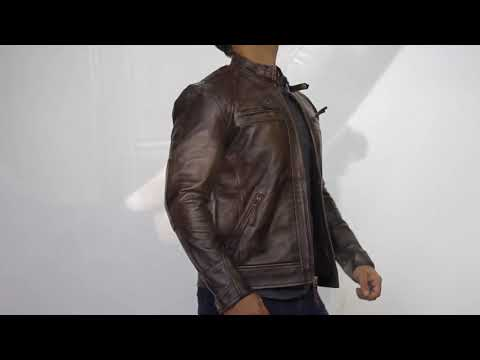 Distressed Brown Quilted Leather Jacket | Film Jackets