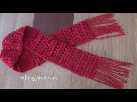 Crochet scarf tutorial (Engsub) I Móc khăn len quàng cổ họa tiết lưới dành cho nam