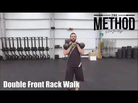 Double kettlebell front rack walk
