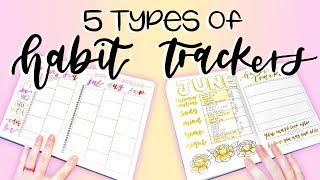 5 Types of Habit Trackers || Bullet Journal Ideas