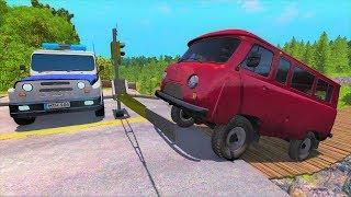 Русские Машины УАЗ Хантер и Буханка проезжают подвесной деревянный мост - Мультики про машинки