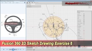 Fusion 360 2D Sketch Drawing | Practice Tutorial | Exercise 6