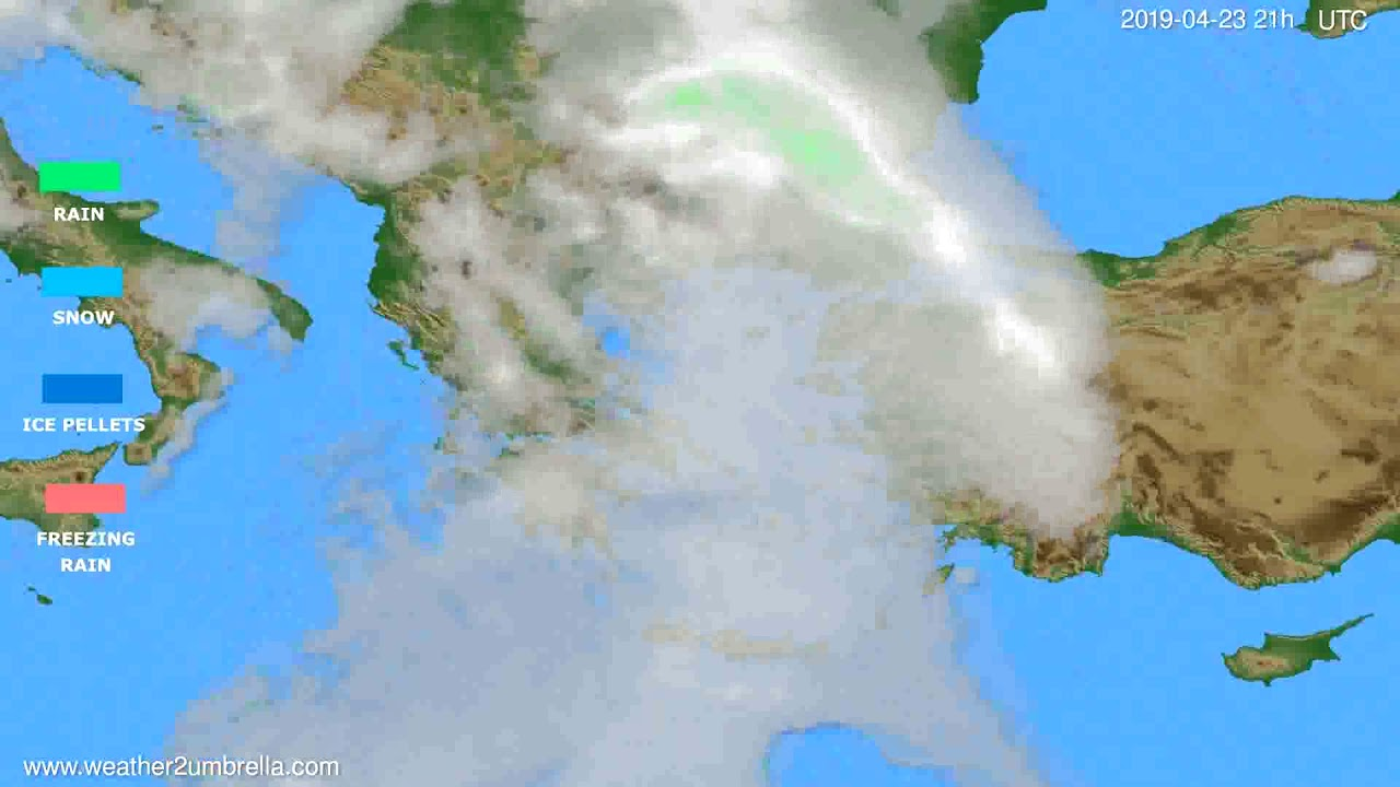 Precipitation forecast Greece // modelrun: 00h UTC 2019-04-22