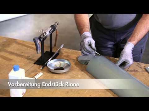 RHEINZINK-Dachentwässerung,Montage des Komplettsystems aus Zink von der Dachrinne bis zum Fallrohr
