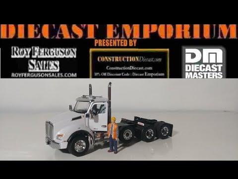 Diecast Masters Kenworth T880 SBFA DayCab Pusher-Axle Tractor in Metallic White
