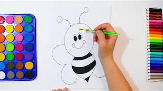 Раскраска Пчёлка, красками / Учим Цвета / Раскраски для малышей
