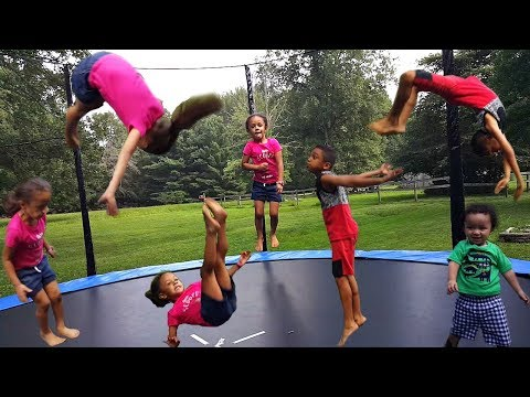 Kids Jumping Trampoline Challenge Family Fun Playtime with Imani and Family!!