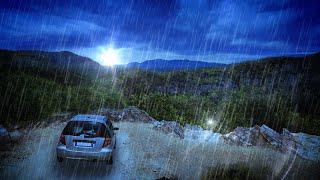 Heavy Rainfall on Car Sleep Sounds | Rain White Noise 10 Hours | Use for Sleeping, Studying