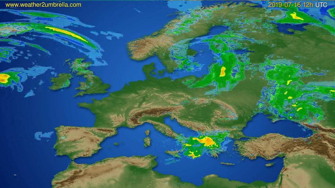 Radar forecast Europe // modelrun: 00h UTC 2019-07-16