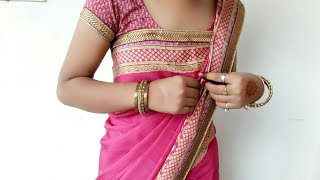 How to Drape Flat Front Style Satin Saree in Different Style