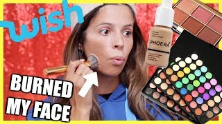 FULL FACE OF WISH CHEAP MAKEUP | IT BURNED MY FACE