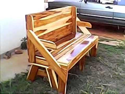 Banco que vira mesa feito da Madeira TECA