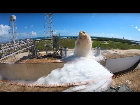 NASA just uploaded a test of their new Launch Pad Water Deluge System. Releases 450,000 gallons of water to cool rocket exhaust, spraying 100 ft. in the air.