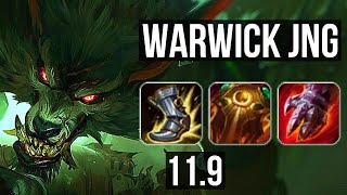 WARWICK vs UDYR (JUNGLE)   2.1M mastery, 8/2/9, 700+ games, Godlike   KR Diamond   v11.9