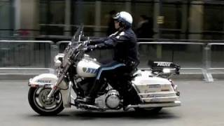 NYPD Police Motorcycles Harley Davidson Road King -- Protecting Obama (compilation)