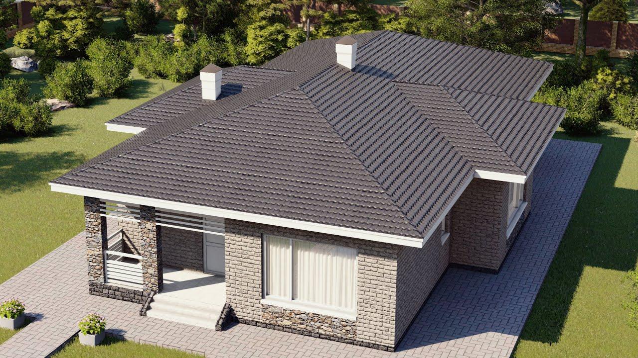 Удобный одноэтажный дом с крытой террасой