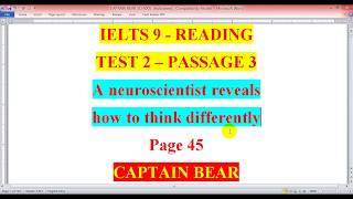 READING - IELTS 9 - A NEUROSCIENTIST REVEALS HOW TO THINK DIFFERENTLY
