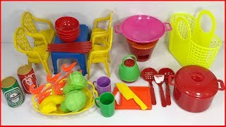 Đồ chơi nấu ăn bé gái 30 món, có bếp gas, bàn ghế, nồi chảo, rau củ, dĩa... Kitchen toys (Chim Xinh)