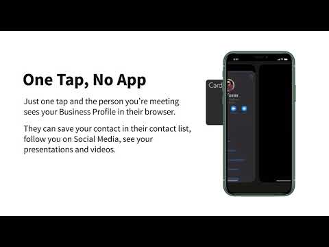 , title : 'One Tap, No App. The Smart Business Card everyone can use.