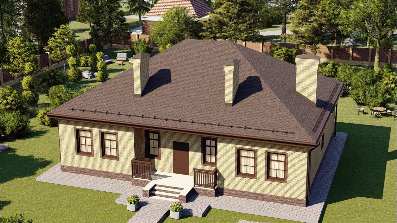 Проект дома 1 этаж с удобной планировкой и большой террасой