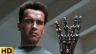 Терминатор показывает металлическую руку. Терминатор 2: Судный день.