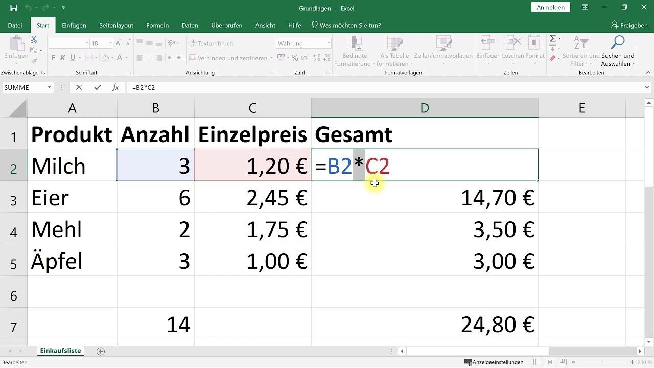 Excel Einstieg/Grundlagen: Rechnen, einfache Formeln, Summe – Excel-Tutorial