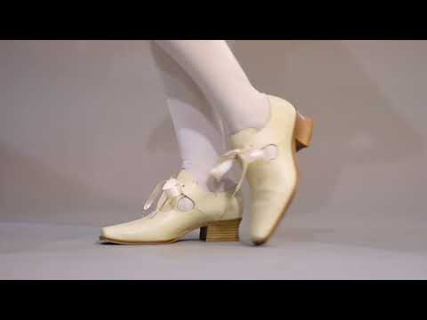 PRE-ORDER Nell Women's 17th Century Leather Shoes (Ivory)