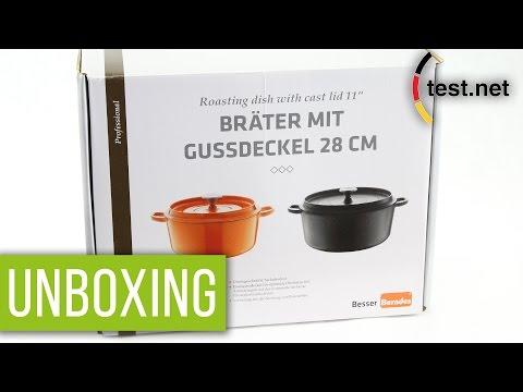 Berndes | Eisenguss Bräter mit Gussdeckel (28 cm) in orange (Unboxing) | test.net