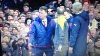 Louis van Gaal falls over after pretending to dive in front of the fourth official