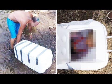 這個男子在河中撿到了一個被膠帶封死的箱子,打開以後...