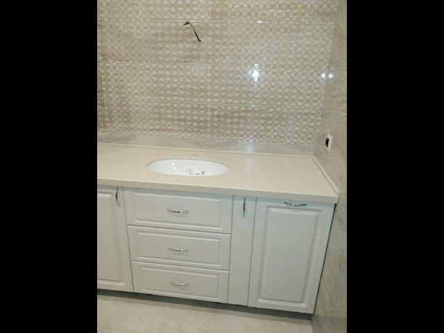 Столешница в ванную из искусственного камня Hanex Trio T-068 Rice Сookie