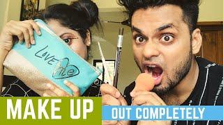 Hubbies Make Up / Out Completely /Makeup Prank    Kukku & Deepa   