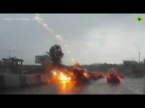 SUV takes a double strike from Zeus himself in Russia