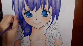 Manga/Anime Illustration- Colouring With Pencil Crayons