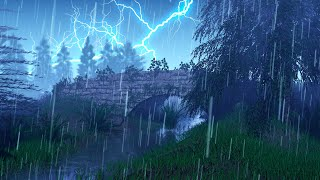 Sounds of Rain and Thunder in Mystical Forest with Gentle Stream ⛈️ for Sleep, Studying, Relaxation
