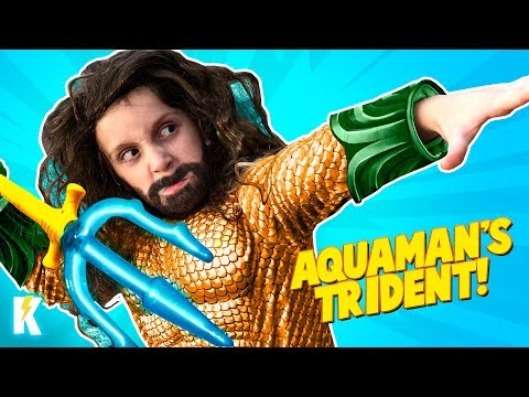 Aquaman Trident 🔱 Superhero Gear Test & Movie Toys Review for Kids! KIDCITY