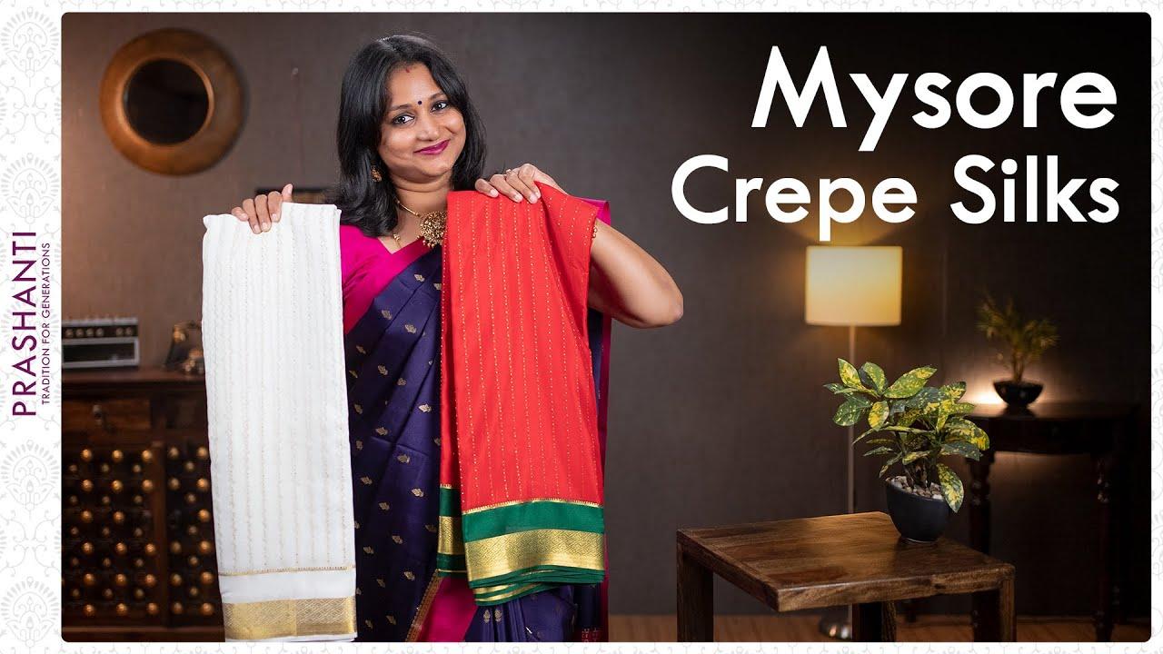 "<p style=""color: red"">Video : </p>Mysore Crepe sarees by Prashanti | 16 September 2021 2021-09-16"