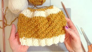 How to knit a bun beanie hat #knitting