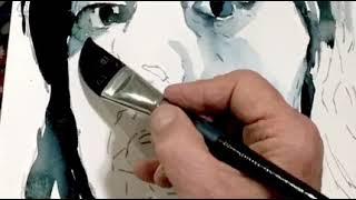 Value/Shape Monochromatic Watercolor Portraiture Exercise