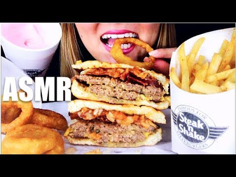 ASMR STEAK 'N SHAKE DOUBLE BACON CHEESEBURGER, ONION RINGS // NO TALKING *EATING SOUNDS*