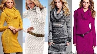 Красивые вязаные платья с рукавами - 2018 / Beautiful knit dress with sleeves