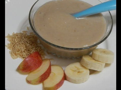 Video Healthy Baby Food Recipe - Banana Apple Porridge - Rice with Banana & Apple l 6+ months