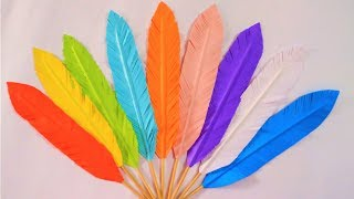 How To Make Paper Feathers | DIY Paper Feathers | Room Decoration With Paper Feathers |