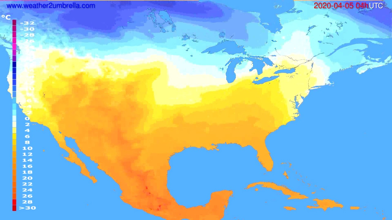 Temperature forecast USA & Canada // modelrun: 12h UTC 2020-04-04