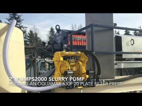 "Pumps 2000 2"" air pump on an Oquamax 630p 20 plate filter press"