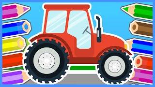 Смотреть онлайн Как ребенку поэтапно нарисовать трактор карандашом