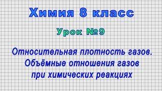 Химия 8 класс Урок 9 - Относительная плотность газов. Объёмные отношения газов.