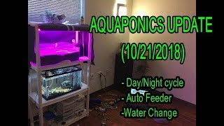 Indoor Aquaponics Project! (10/21/18) Automatic Lights, Feeder, and Water Change