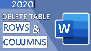 How to Delete Row or Column of a Table in Word - in 1 MINUTE (HD 2020)